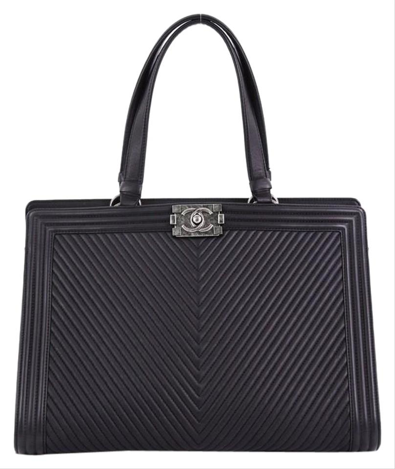 0ed0b470e052 Chanel Shopping Tote Boy Chevron Quilted Calfskin Large Black Leather Tote