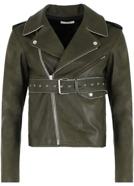 Item - Olive Geen Belted Leather Jacket Size 2 (XS)