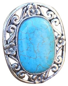 Unknown Real Turquoise Stone Silver Stretch Ring