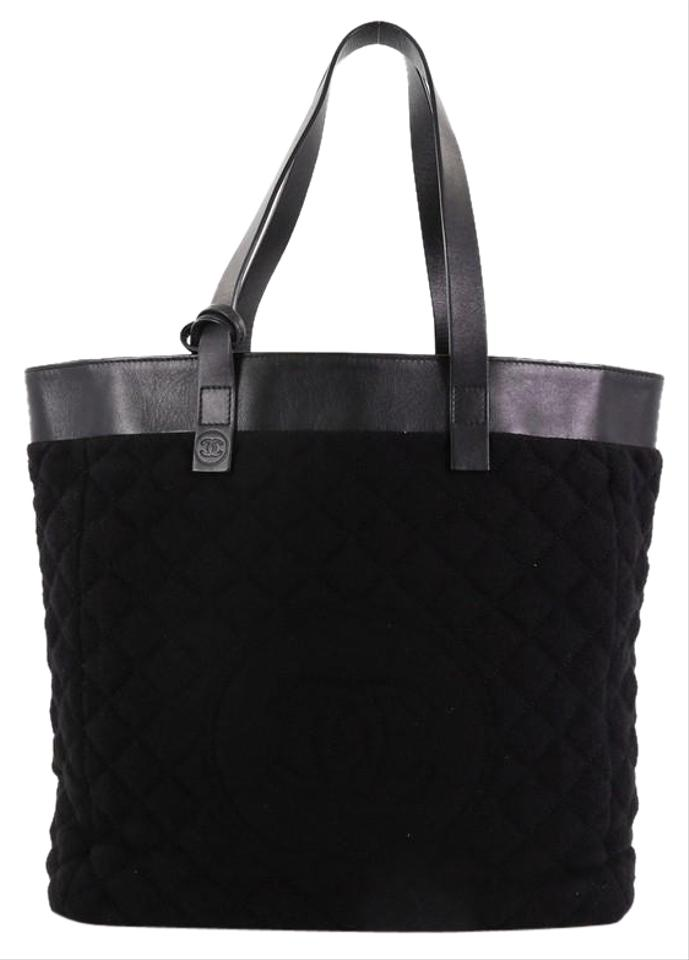 35697e45afef Chanel Reversible Cc and Quilted Nylon Large Black Terry Cloth Tote ...