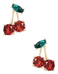 Kate Spade KATE SPADE 12K Gold Plated Ma Cherie Cherry Stud Earrings