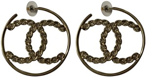 Chanel Chanel Large CC Logo Crystal Gold Tone Round Hoop Statement Earrings