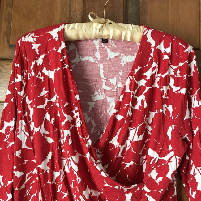 Talbots Pullover Surplice Style Ruching Rayon/Lyocell Top Petite XL Red and White