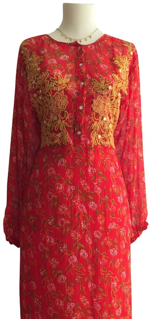 Item - Red Women Mid-length Casual Maxi Dress Size 4 (S)