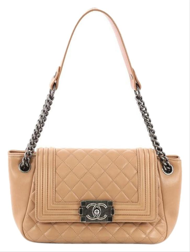 Chanel Classic Flap Boy Accordion Quilted Small Light Brown Lambskin ... 739c482068093