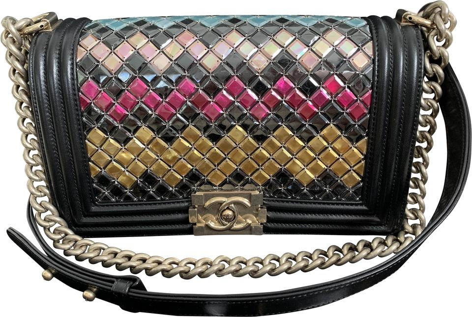 7c8d2342fd46 Chanel Boy Multicolor Mosaic Tile Handbag Black Lambskin Leather Shoulder  Bag