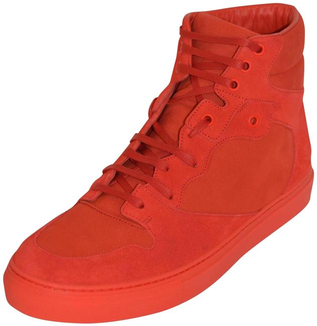 Balenciaga Red New Hitop Suede Leather