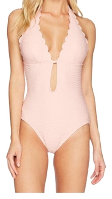 Item - Aloha Pink Marina Piccola Textured Scallop Halter Plunge One-piece Bathing Suit Size 8 (M)