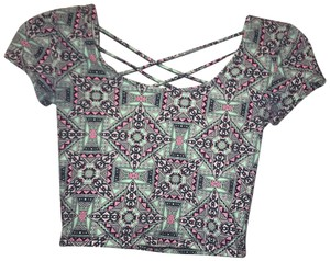 Charlotte Russe Top Green, pink, white