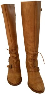 Frye Lace Up Wood Heel Brown Boots