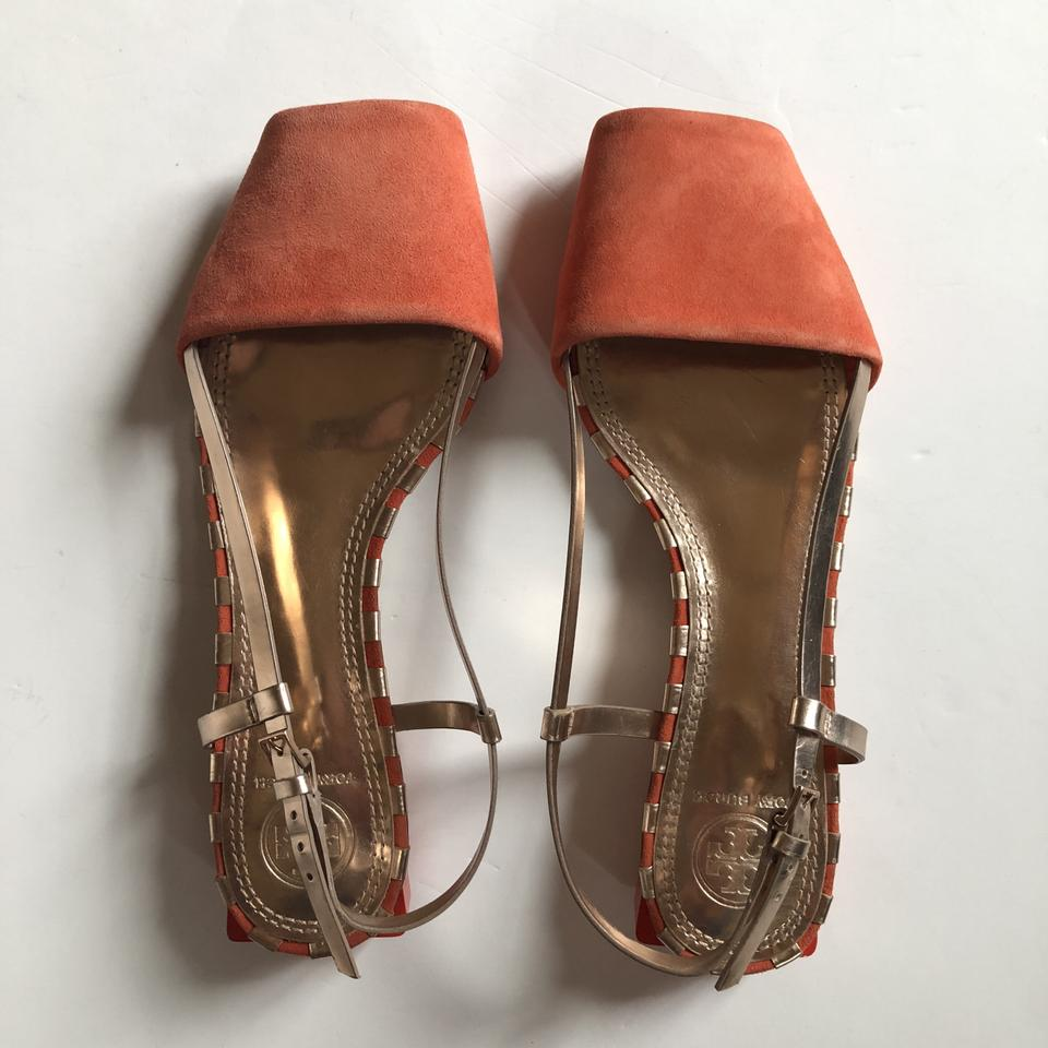 28f65861adcf Tory Burch Poppy and Rose Gold Pietra Peep Sandals Size US 7 Regular ...