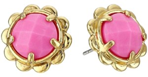 Kate Spade Gold-Tone Round Pink Stone Scallop Edged Stud Earrings