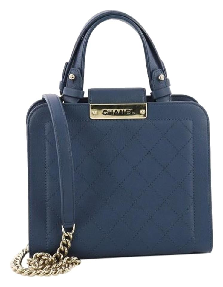 40ac5c9e445da Chanel Shopping Tote Label Click Quilted Calfskin Small Blue Leather Tote