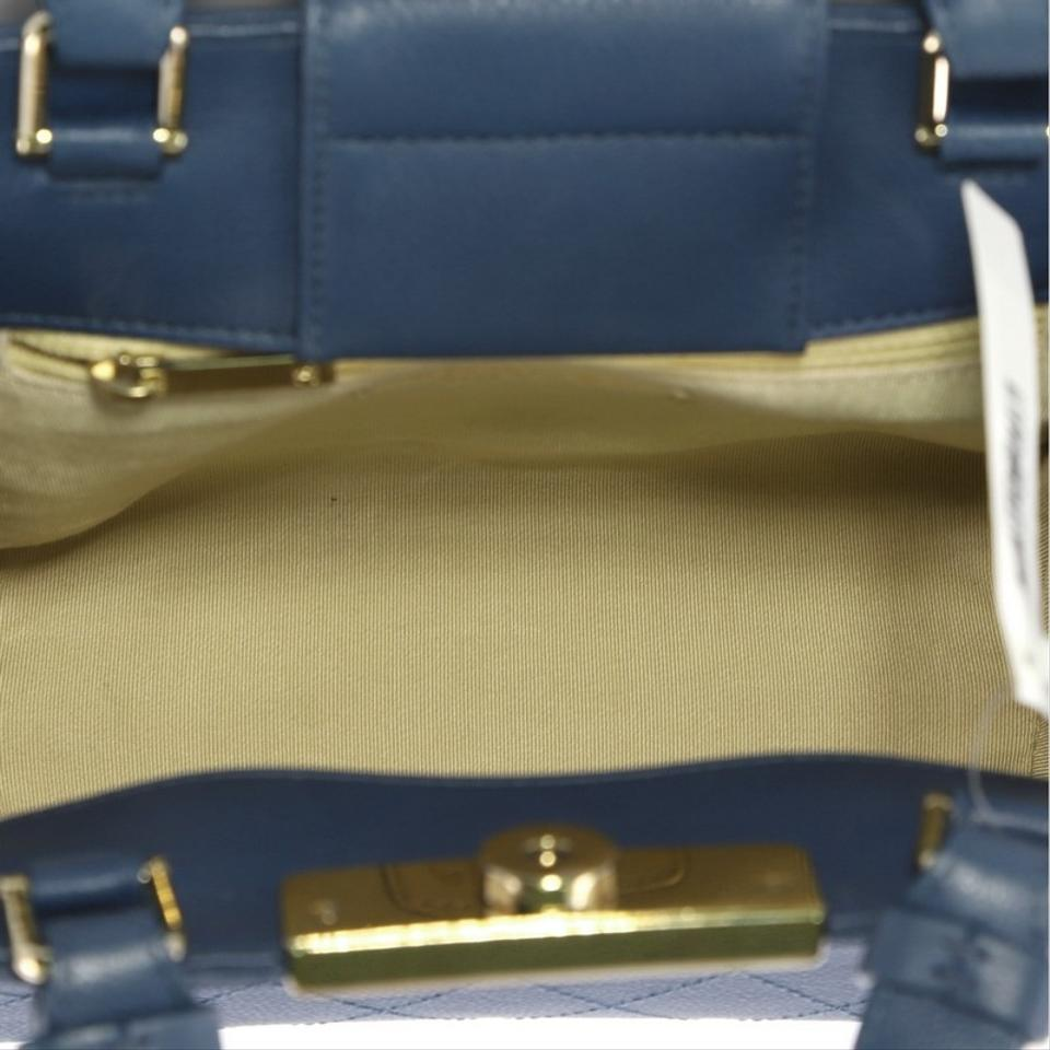 67f58e0023f17 Chanel Shopping Tote Label Click Quilted Calfskin Small Blue Leather ...