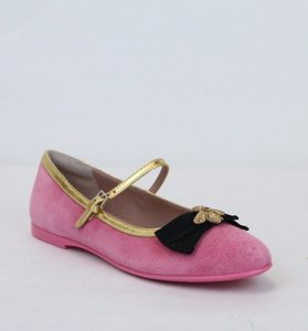 Gucci Pink W Childrens Suede Ballet Flats W/Bee and Bow 33/Us 1.5 455396 5679 Shoes