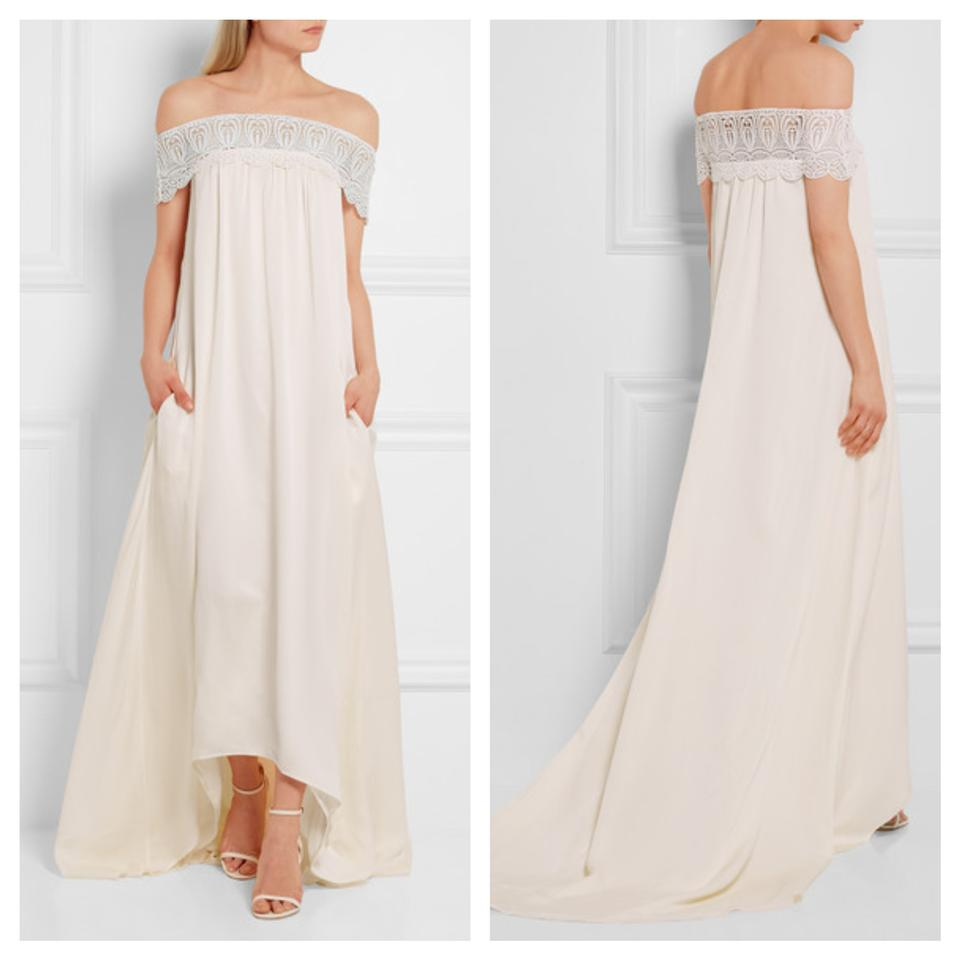 Self Portrait Ivory Off The Shoulder Casual Wedding Dress Size 6 S