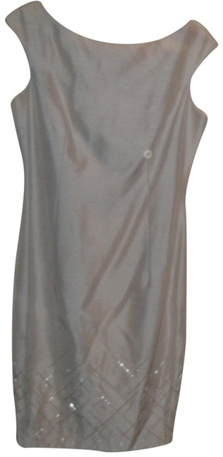 Item - Silver Sheath Mid-length Night Out Dress Size 10 (M)