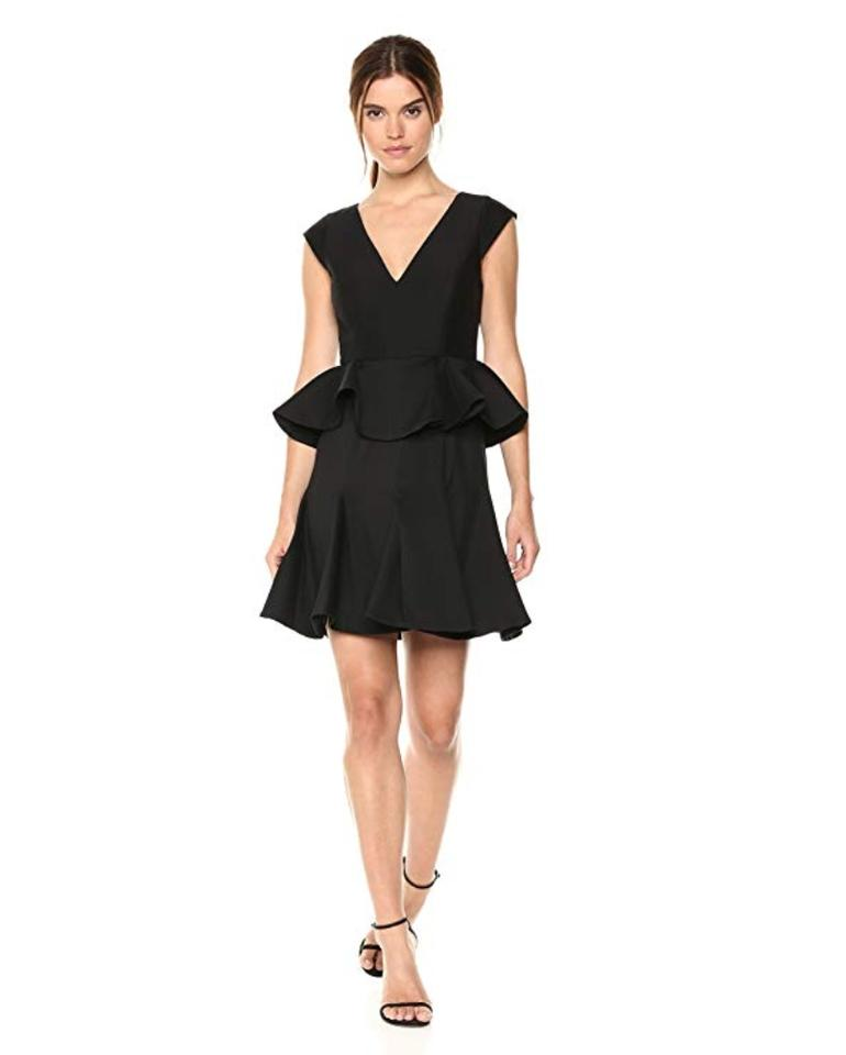 8811703422f Halston Black Heritage Women's Cap Sleeve V with Peplum Cocktail Dress
