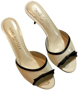 Louis Vuitton Black and Ivory Mules