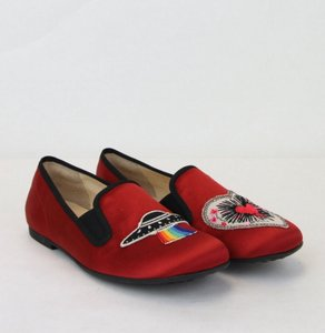 Gucci Red W Children's Silk Flats W/Rainbow and Heart Icon 32 484976 6265 Shoes