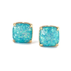 Kate Spade 12K Gold Plated Ocean Blue Turquoise Glitter Square Stud Earrings
