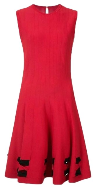 Item - Red Bow Detail Short Cocktail Dress Size 12 (L)