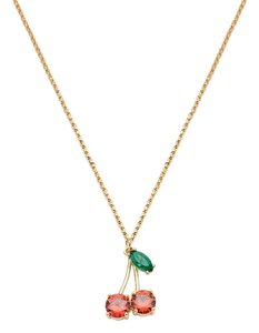 Kate Spade KATE SPADE 12K Gold Plated Ma Cherie Cherry Mini Pendant Necklace
