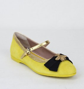 Gucci Yellow W Suede Ballet Flats W/Embroided Bee 32/Us .5 455396 7179 Shoes