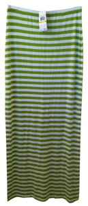 Michael Kors Maxi Skirt Green White Stripe