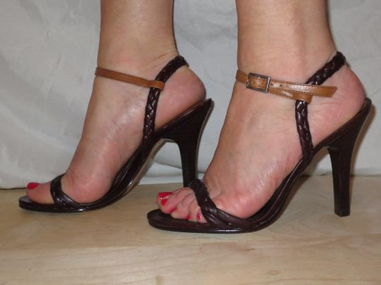 Daniblack Leather Braided Ankle Strap Strappy Brown Sandals Image 3