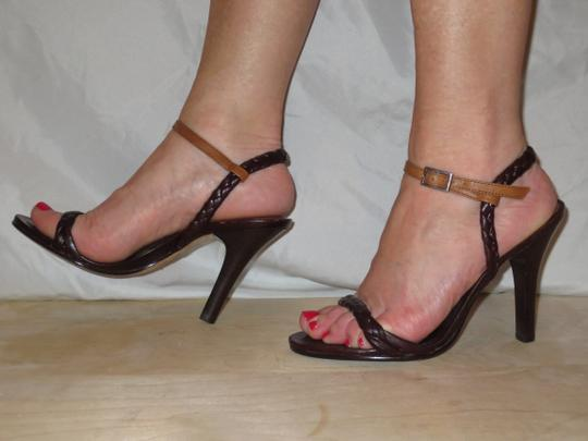 Daniblack Leather Braided Ankle Strap Strappy Brown Sandals Image 4