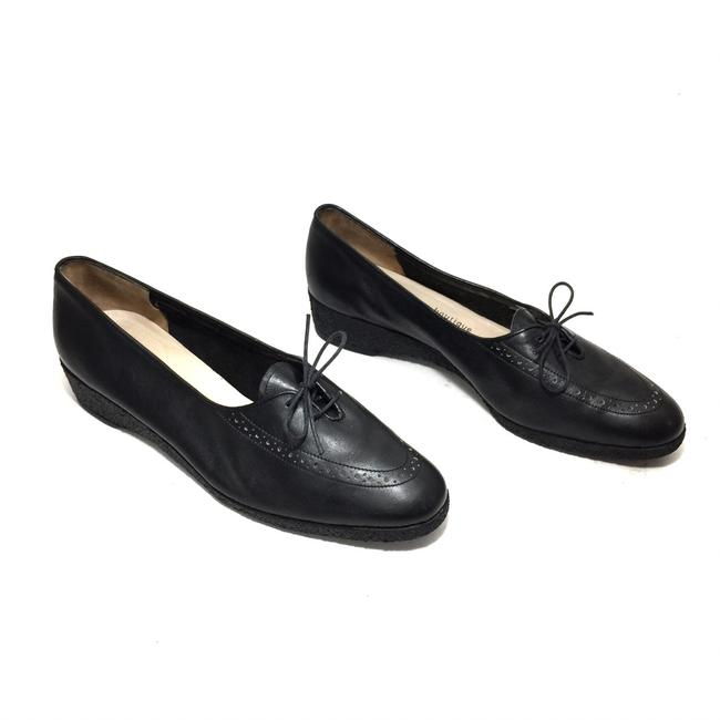 Item - Black Leather Lace-up Saddle Detail Wedge Flats Size US 8 Narrow (Aa, N)