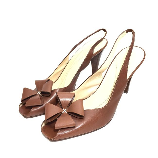 Item - Brown Cognac Leather Flower Slingback Peep-toe Heels Pumps Size US 8.5 Regular (M, B)