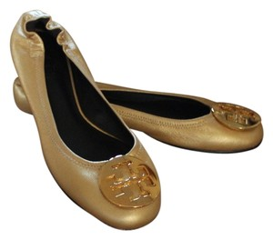 Tory Burch Leather Reva Ballerina Ballet Round Toe Hardware Logo Monogram Gold Flats