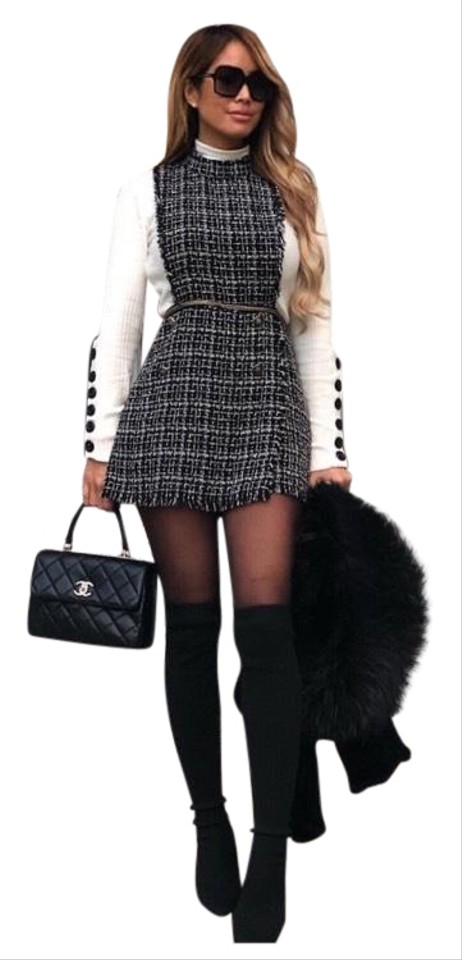 latest fashion los angeles special price for Zara Black Favorite Blogger Tweed Pinafore Romper/Jumpsuit 45% off retail