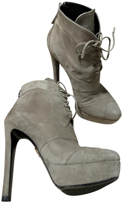 Item - Gray 135mm Taupe Platform Suede Lace Up Bambu Zip Ankle Boots/Booties Size EU 37 (Approx. US 7) Regular (M, B)