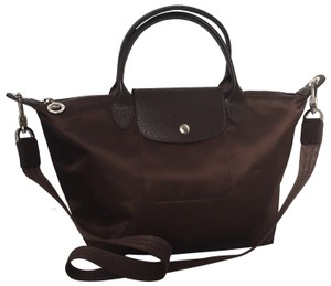 Longchamp Nylon Leather Foldable Satchel in brown