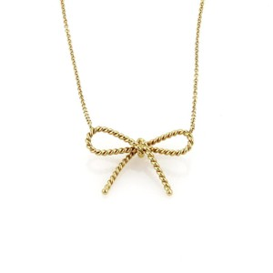Tiffany & Co. Tiffany & Co. 18k Yellow Gold Twisted Cable Wire Bow Pendant & Chain
