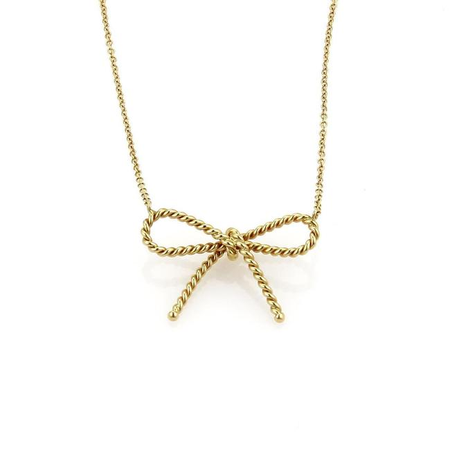 Tiffany & Co. #59364 18k Yellow Gold Twisted Cable Wire Bow Pendant Chain Necklace Tiffany & Co. #59364 18k Yellow Gold Twisted Cable Wire Bow Pendant Chain Necklace Image 1