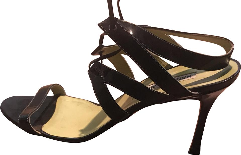 a493b8aaf58 Manolo Blahnik Black Patent Crisscross Lace Up Sandals Size EU 39.5 ...