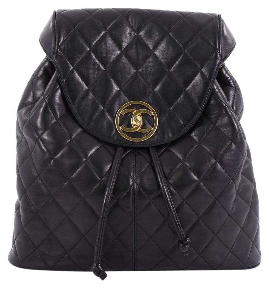 Chanel Backpack Vintage Quilted Large Black Lambskin Leather ... 0dfabac711