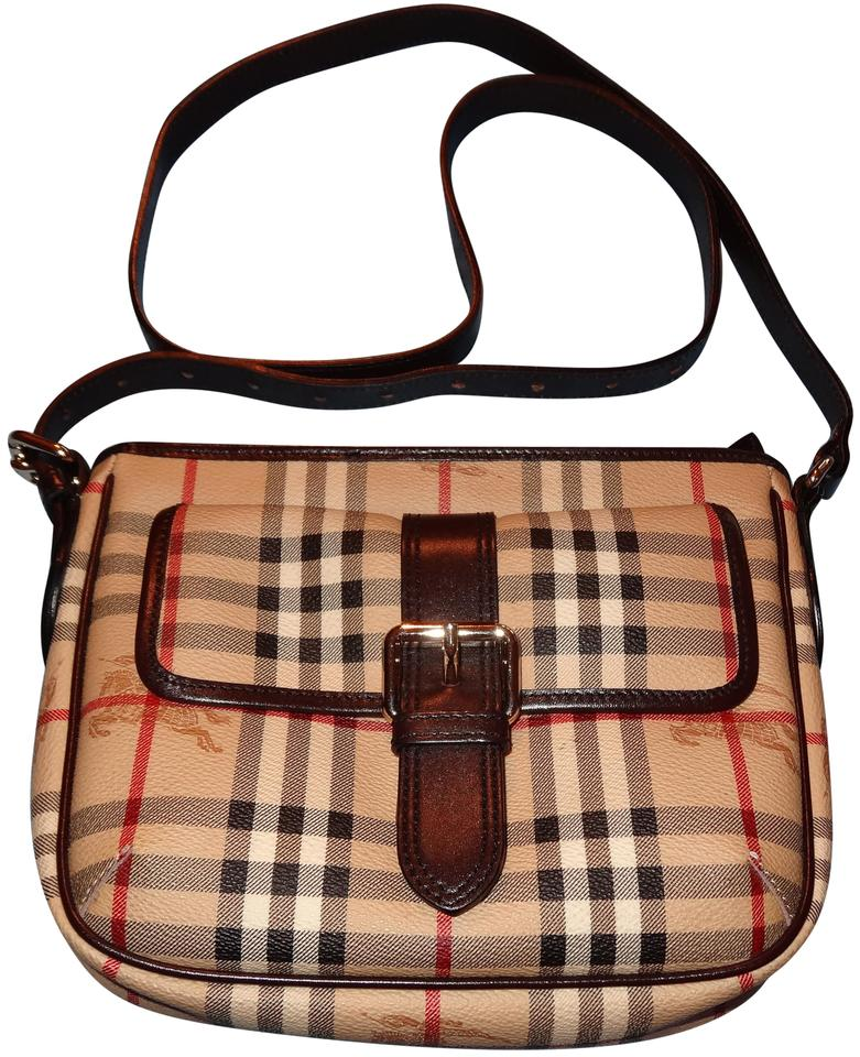 0d4a02ac66aa Burberry Haymarket Check Canvas And Leather Or Crossbody Shoulder Bag Image  0 ...