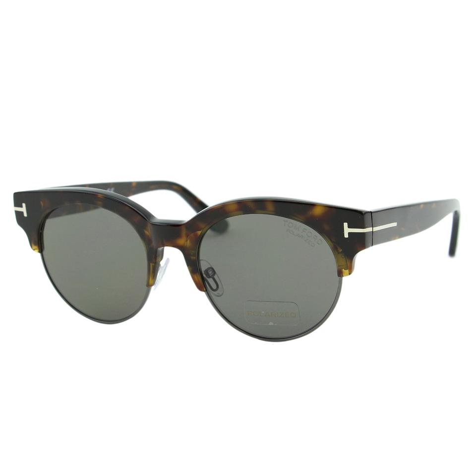 fbc5a00a426 Tom Ford Brown   Gold New 2018 Henri-02 Tf0598 Round 50mm Clubmaster  Brow-bar Sunglasses