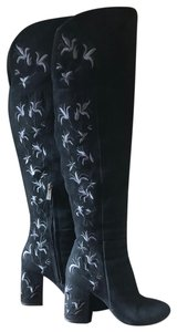 Kenneth Cole Over The Knee Embroidered Black Suede Boots