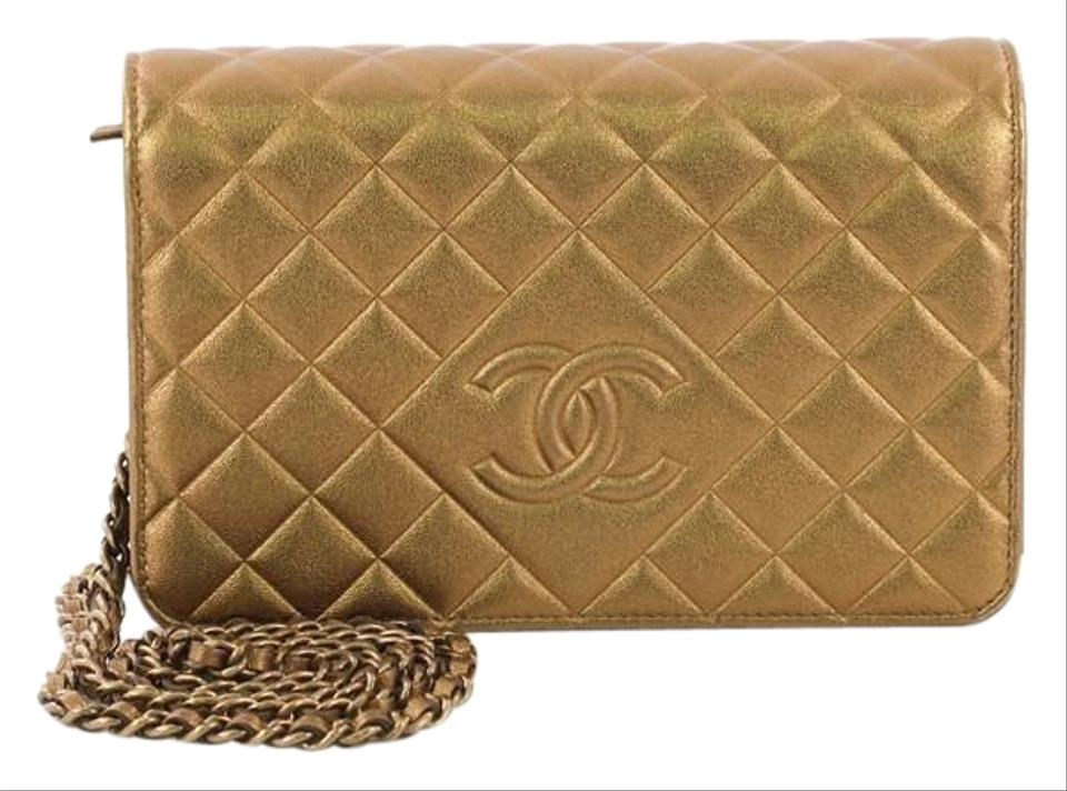 2a8640fb2528 Chanel Wallet on Chain Diamond Cc Quilted Metallic Gold Lambskin Leather  Shoulder Bag