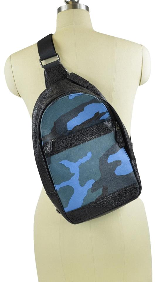 3e2a3a56ce30 Coach Men s Charles Sling Pack Blue Camo Leather Backpack - Tradesy