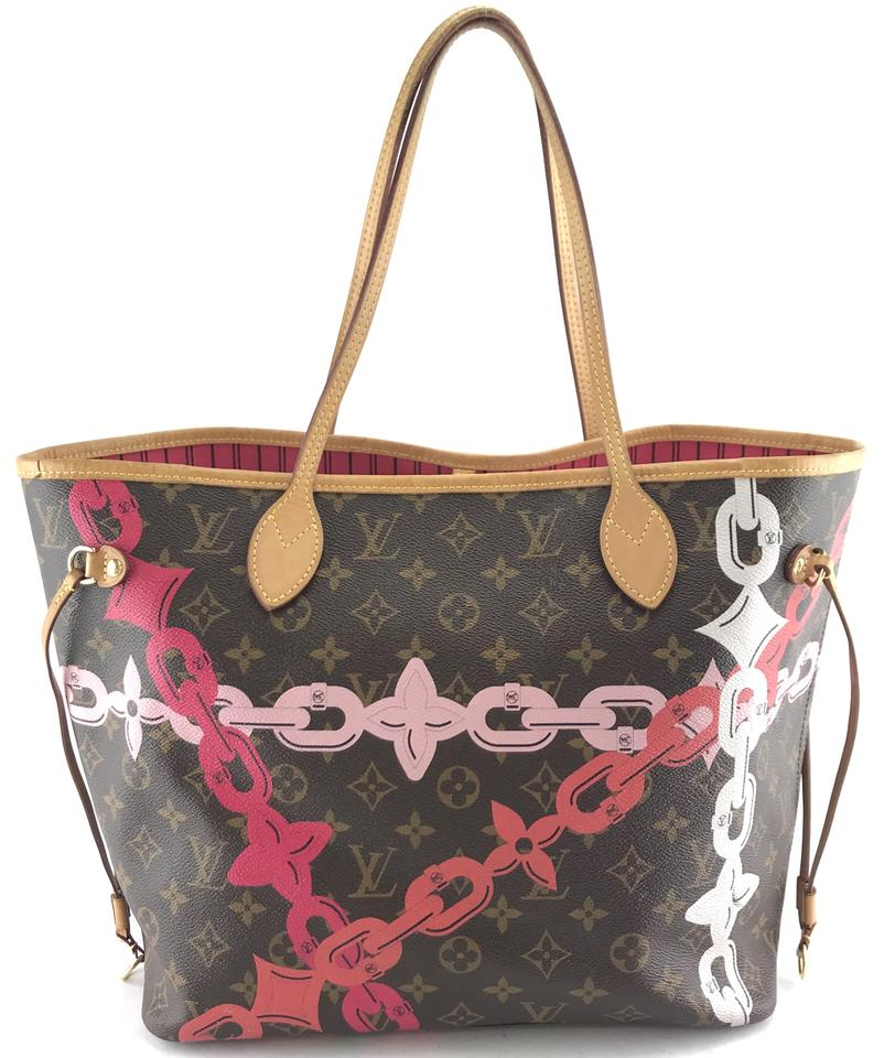 4fd94f9557b Louis Vuitton Neo Neverfull #26617 Limited Edition Classic Mm Tote Work  Monogram Poppy Rose Ballerine Color with Print Of Spring/Summer 2016  Tropical ...