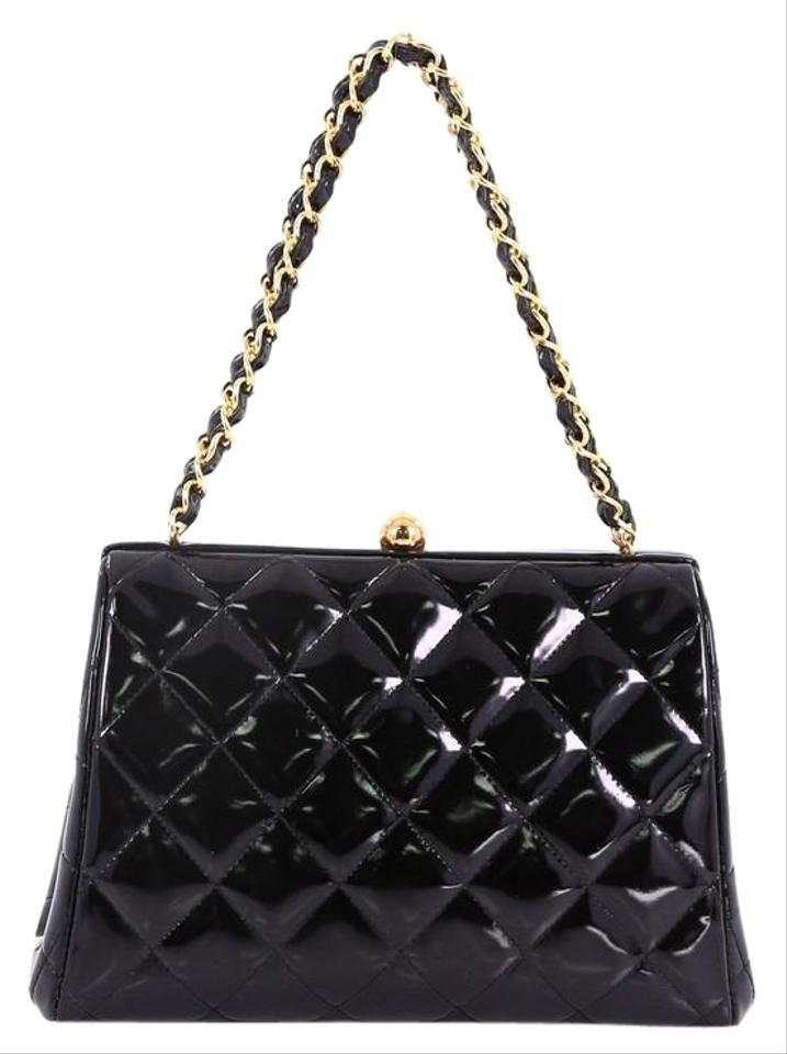 d2d46ee5a545 Chanel Vintage Chain Frame Quilted Small Black Patent Leather ...