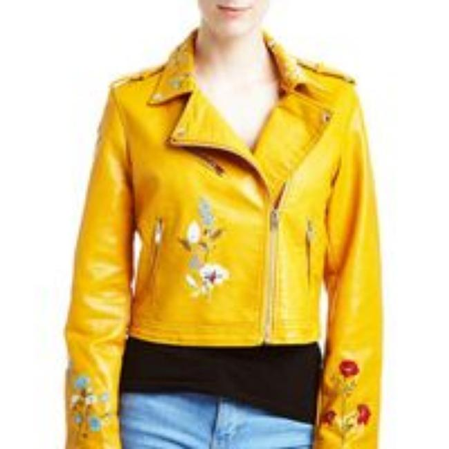 Item - Yellow Floral Embroidered Faux Leather Jacket Size 12 (L)