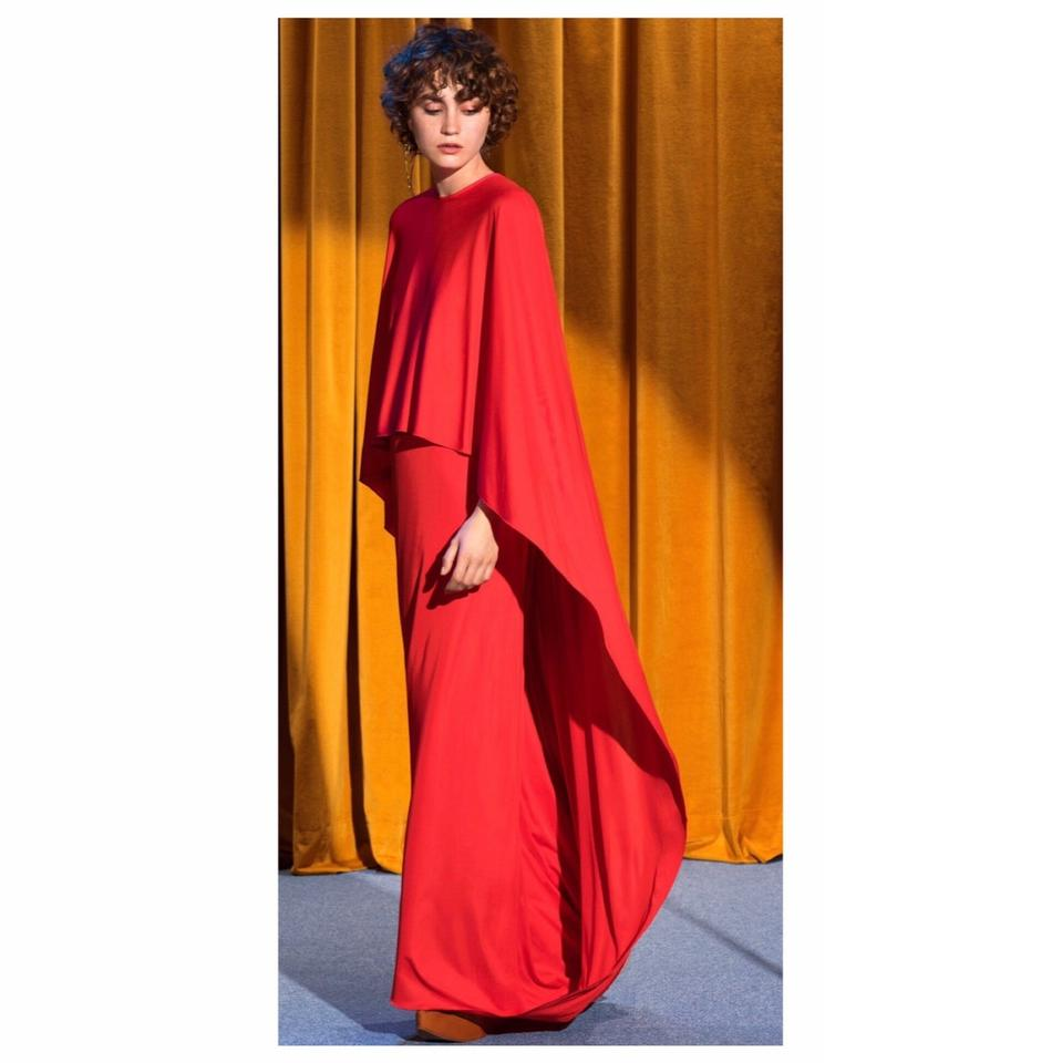 4974b4ce4a224 Stella McCartney Red Eilise Cape Gown Long Formal Dress Size 2 (XS ...